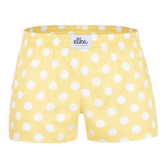ELKA Trenýrky Žluté s bílými velkými puntíky