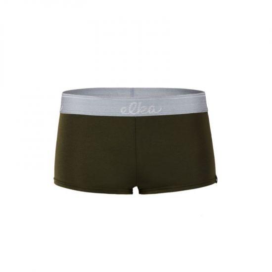ELKA boxerky khaki se sv. šedou gumou